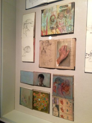 Display of sketchbooks by James Jean at Giant Robot Biennale 4, Japanese American National Museum