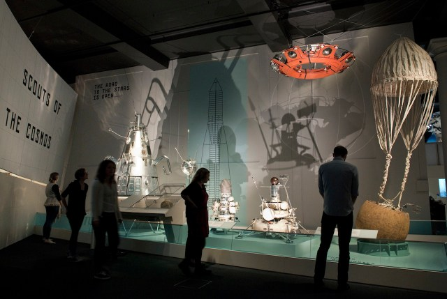Engineering models from Soviet robotic missions in the 'Cosmonauts' exhibition (courtesy Science Museum)