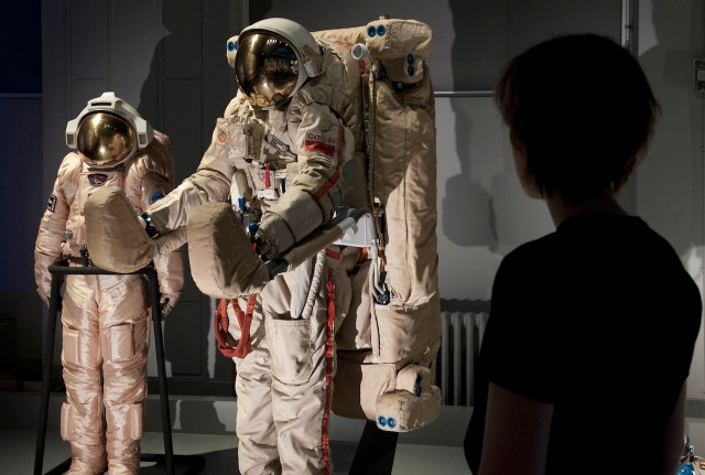 Orlan DMA-18 extravehicular activity spacesuit in the 'Cosmonauts' exhibition (courtesy Science Museum)