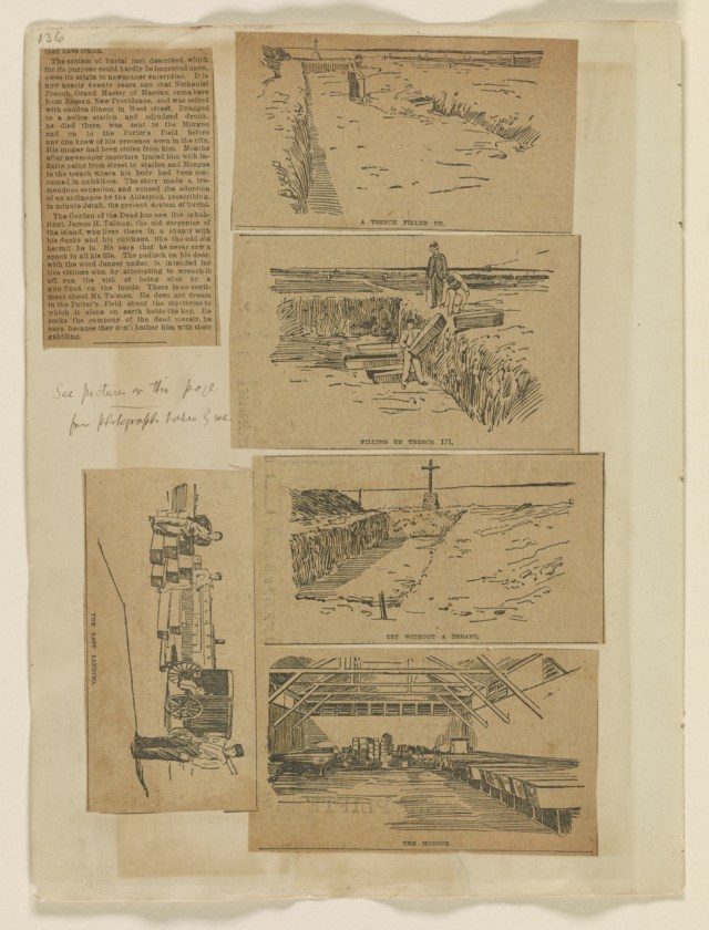 """Riis scrapbook with illustrations from the article, """"The City's Unclaimed Dead,"""" Evening Sun (January 6, 1891). Scrapbook page includes note from Riis: """"from photos taken by me."""" (courtesy Jacob A. Riis Papers, Manuscript Division, Library of Congress, Washington, DC)"""