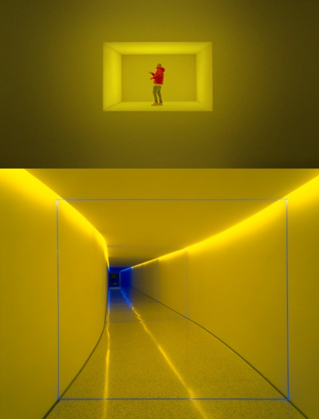 """Still from Drake's video with James Turrell's """"The Inner Way"""" (1999) (bottom image via @annamaria_art11/Instagram)"""