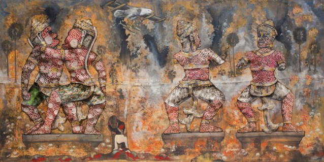 """Leang Seckon, """"Indochina War"""" (2015), mixed media on canvas, 78.7 x 157.5 inches/200 x 400 cm (all photos courtesy of Sundaram Tagore Gallery)"""