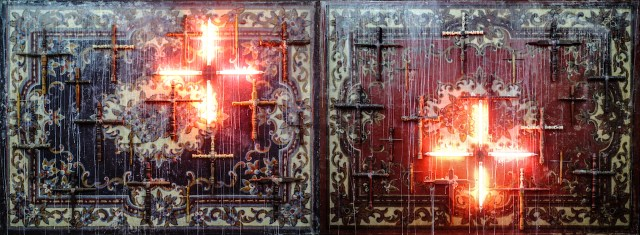 """Norberto Roldan, """"Crusade"""" (2015), wooden crosses salvaged from demolished old houses on beeswax-drenched panels, neon lights, diptych, 66 x 174 inches"""