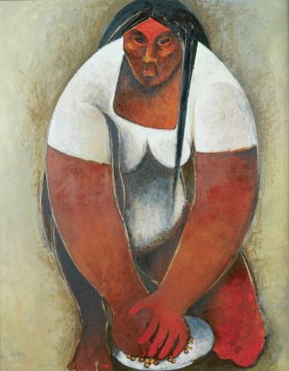 "William Pajaud, ""Mujer con Maiz, Tortilla Maker 4"" (1973), from the 'Mujeres' series, oil on canvas, 58 7/8 x 48 in, Collection of Camille O. and William H. Cosby Jr (photo by Frank Stewart, permission courtesy the artist)"