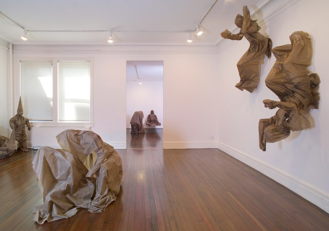 Installation view, 'Robert Morris: MOLTINGSEXOSKELETONSSHROUDS' at Castelli Gallery (all images courtesy Castelli Gallery)