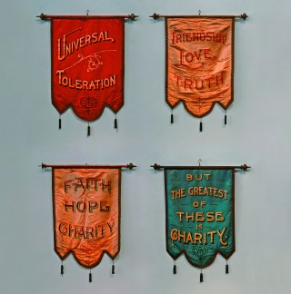 Odd Fellows banners (1890s), unknown maker, oil paint on silk, with brass trim and tassels, 28 × 20 in. (courtesy Webb Collection)