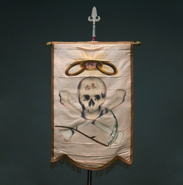 Odd Fellows Initiatory degree banner (1880s), unknown maker, oil paint on silk, 28 × 18 in. (courtesy Webb Collection)