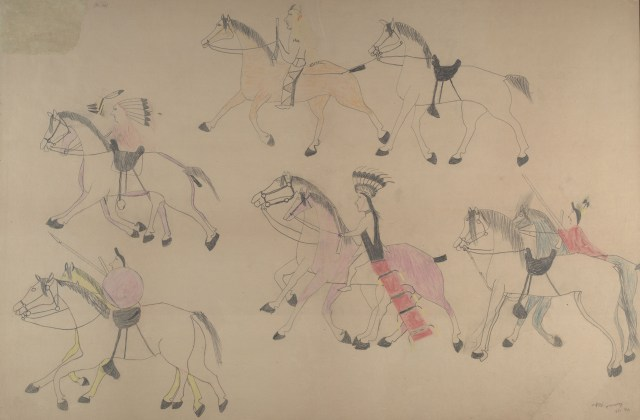 Red Horse (Minneconjou Lakota Sioux, 1822-1907), Untitled from the Red Horse Pictographic Account of the Battle of the Little Bighorn, 1881. Graphite, colored pencil, and ink. NAA MS 2367A_08571100. National Anthropological Archives, Smithsonian Institution