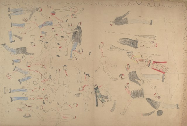 "Red Horse, ""Untitled from the Red Horse Pictographic Account of the Battle of the Little Bighorn"" (1881), graphite, colored pencil, and ink (NAA MS 2367A, 08570400, National Anthropological Archives, Smithsonian Institution)"
