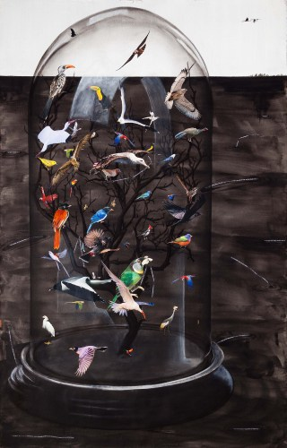 """Hema Upadhyay, """"Fish in a dead landscape"""" (2014), acrylic, gouache, poster color, dry pastels, charcoal, photographs, and copyright free images on paper, 72 x 48 in (photo by Anil Rane, image courtesy Chemould Prescott Road and the artist) (click to enlarge)"""