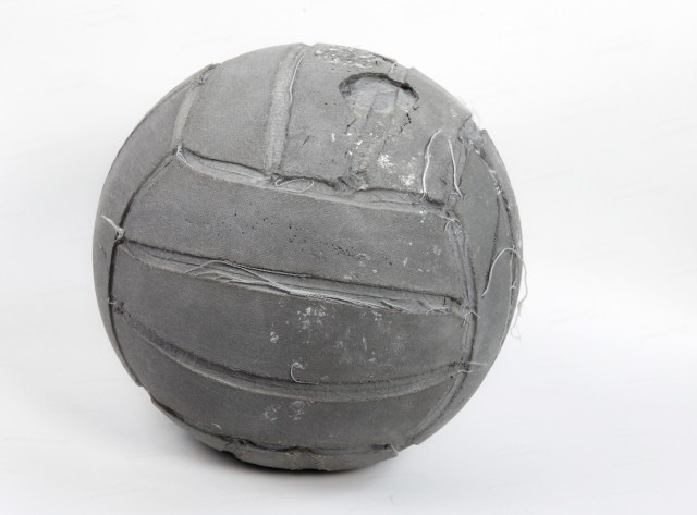 "Khaled Jarrar, ""Volleyball"" (2013), reconstituted concrete from separation wall, 20 cm diameter (photo by the artist)"
