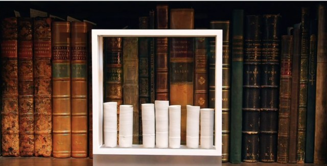 Detail of Edmund de Waal's 'white' installation in the Royal Academy Library and Print Room (screenshot via Vimeo)