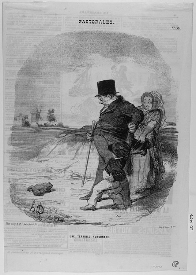 "Honoré Daumier, ""Une Terrible Rencontre"" (1845). The illustration shows an urban family horrified by a frog in the countryside. (courtesy Benjamin A. and Julia M. Trustman Collection of Honoré Daumier Lithographs Robert D. Farber University Archives & Special Collections Department Brandeis University)"