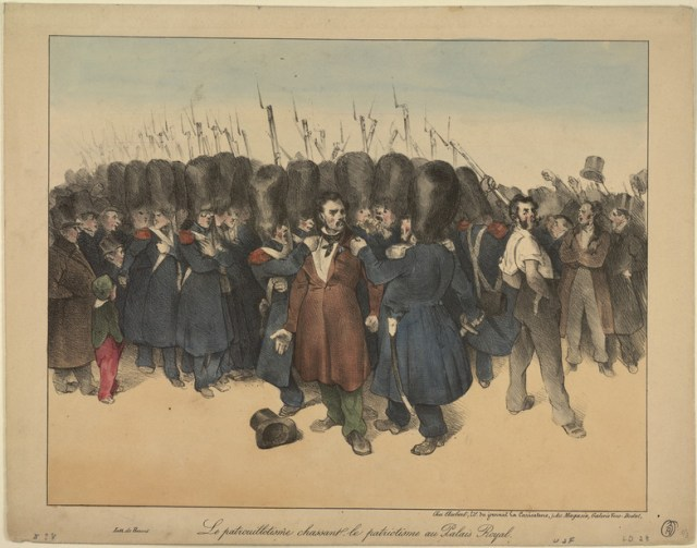 "Honoré Daumier, ""Le patrouillotisme chassant le patriotisme du Palais-Royal"" (1831). The lithograph shows troops expelling Republicans and arresting protesting workers in the Palais-Royal gardens, an event which occurred from December 20 to 22, 1830. (courtesy Benjamin A. and Julia M. Trustman Collection of Honoré Daumier Lithographs Robert D. Farber University Archives & Special Collections Department Brandeis University)"