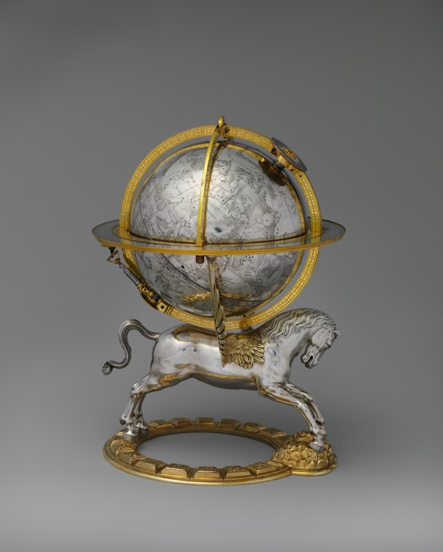 Celestial globe with clockwork, Maker: Gerhard Emmoser (German, active 1556–84) 1579 Culture: Austrian, Vienna Medium: Case: partly gilded silver and gilded brass; Movement: brass and steel Dimensions: Overall: 10 3/4 × 8 × 7 1/2 in. (27.3 × 20.3 × 19.1 cm); Diameter: 5 1/2 in. (14 cm) The Metropolitan Museum of Art, Gift of J. Pierpont Morgan, 1917