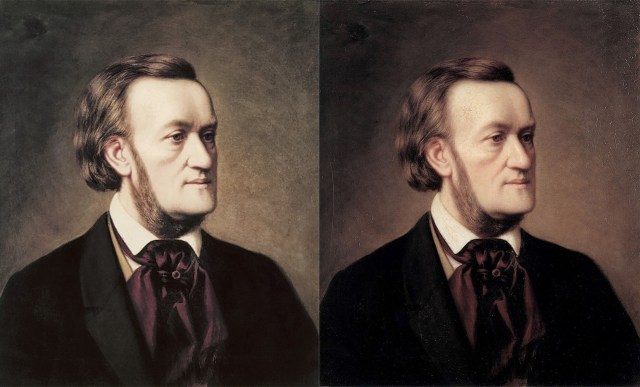 """Different versions of Cäsar Willich's """"Portrait of Richard Wagner"""" (ca. 1862) available on Wikimedia Commons. The photo at left comes from the Wagner Society Hong Kong, while the one at right was shot by the Reiss Engelhorn Museum's house photographer, Jean Christen. (via Wikimedia Commons and Wikimedia Commons)"""