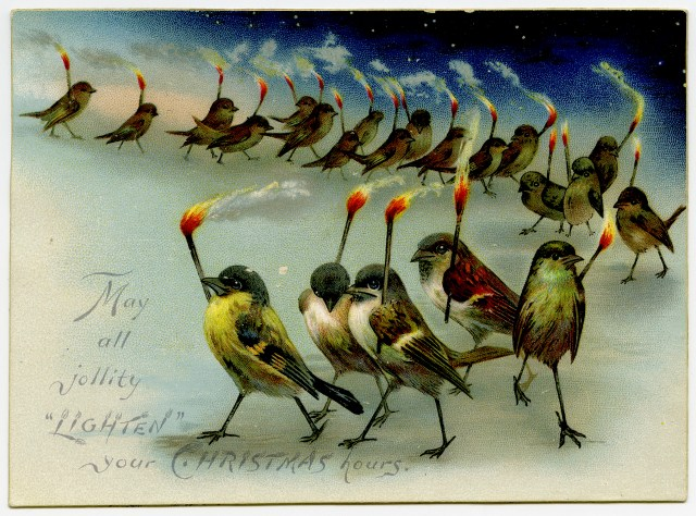 """May all jollity 'lighten' your Christmas hours"" (19th-century Christmas card) (via Lilly Library at Indiana University, Bloomington)"