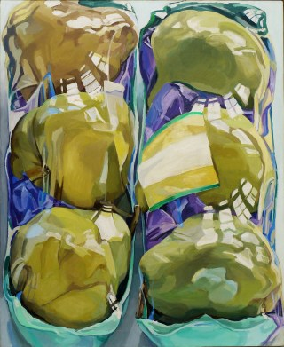 "Janet Fish, ""Untitled (Two Packages of Pears)"" (1969), oil on canvas, 52 1/4 x 42 in"