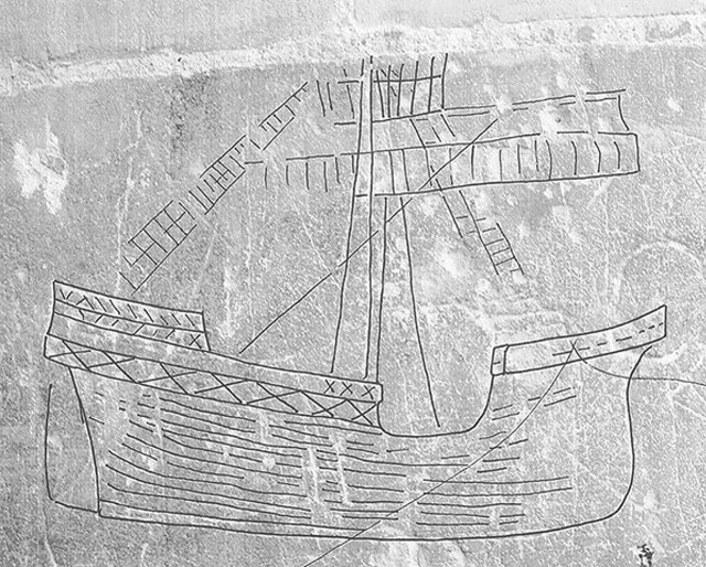 Late medieval ship graffiti, Norwich Cathedral, Norfolk