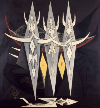 "Wifredo Lam, ""Umbral"" (1950), oil on canvas, Centre Pompidou, musée national d'art moderne, government purchase, 1969 (photo by Georges Meguerditchian, courtesy Centre Pompidou © Adagp, Paris 2015)"