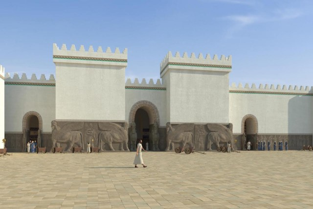 "The recreated exterior of the Palace of Ashurnasirpal ii from the ""Nimrud Rising"" immersive virtual reality project (courtesy of Learning Sites, Inc. and the Antiquities Coalition)"