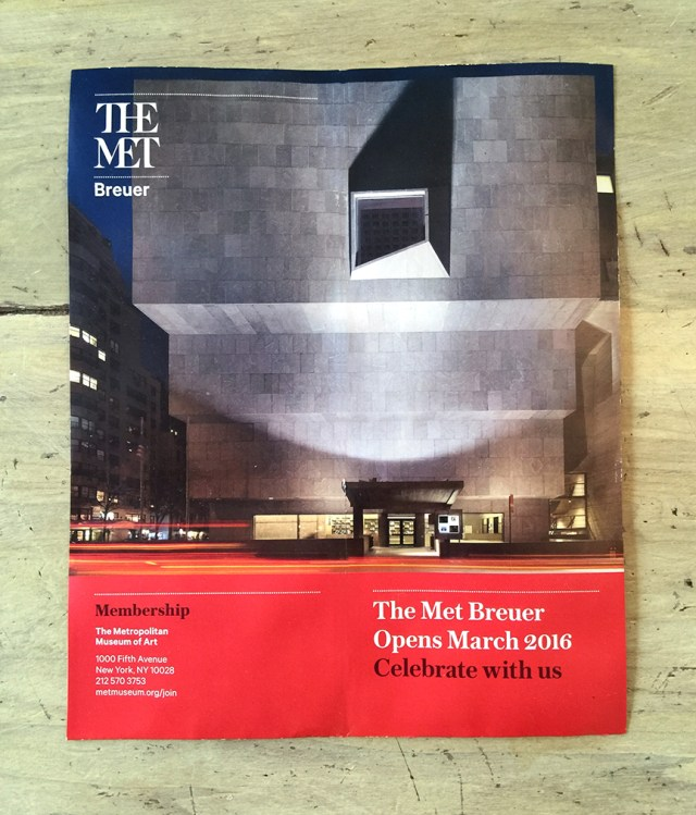 Front cover of the official membership mailer from THE MET Breuer