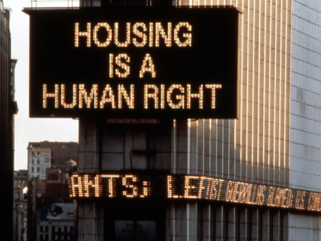 """Martha Rosler, """"Housing Is a Human Right"""" (detail, 1989), Times Square Spectacolor animation (all images courtesy the New Foundation unless otherwise noted)"""