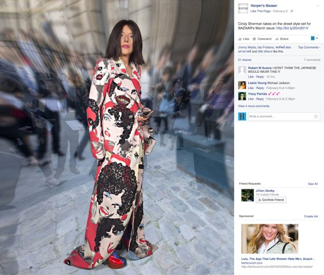 One of Cindy Sherman's photos for the March issue of 'Harper's Bazaar' (screenshot via Facebook)