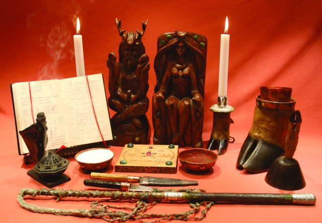 An altar with objects owned by Doreen Valiente (courtesy Doreen Valiente Foundation)
