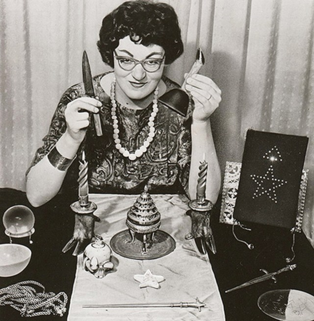 Doreen Valiente with various pagan objects (courtesy Doreen Valiente Foundation)