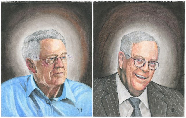 """""""CEO & VP of Koch Industries, the Koch Brothers (Charles and David),"""" captured by Joseph Acker (image courtesy The Captured Project)"""