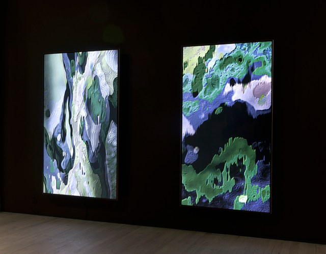 "Sara Ludy, left to right: ""Cloud Relief 2"" (2015) and ""Cloud Relief 1"" (2015), installation view in 'Subsurface Hell' at Bitforms Gallery"