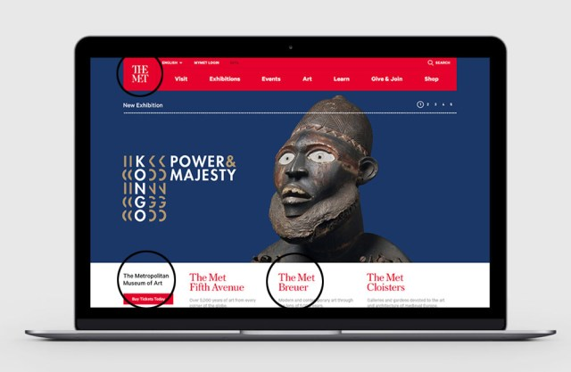 A confusing concept for the new homepage, with three difference references to the name of the museum (original image courtesy the Met, via Wired)