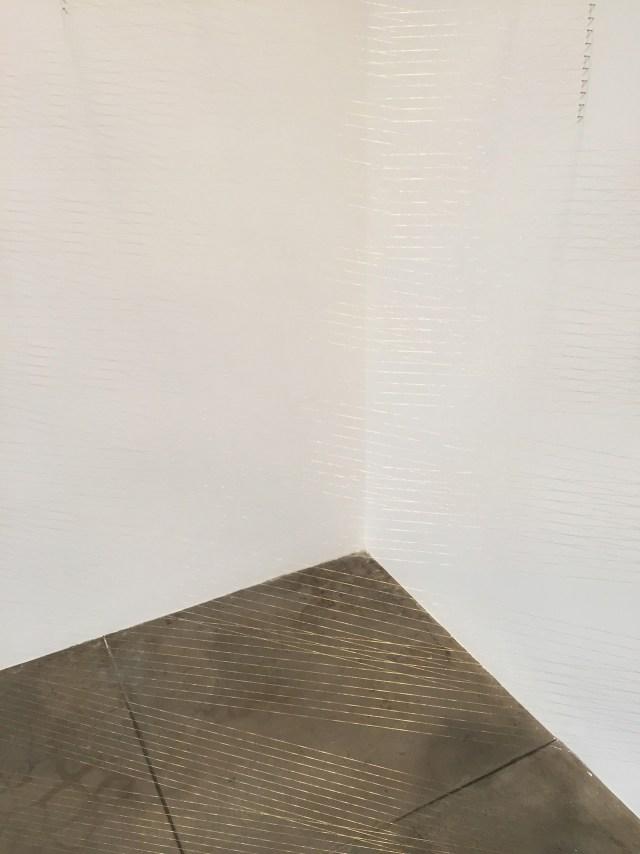 "Lygia Pape, ""Ttélia 1, A"" (1978/1997/1999), golden thread, nails, light, 7 ft 6 1/2 in. x 10 ft 6 in. x 4 ft 11 in."