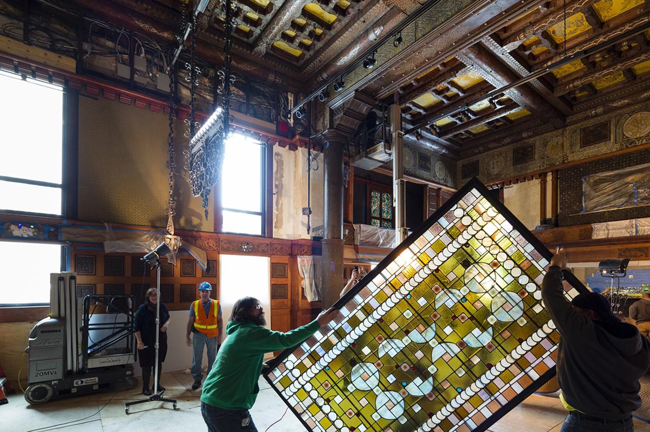 Process shot of the Veterans Room under restoration