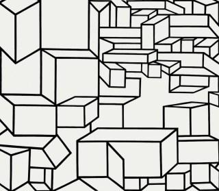 """Al Held, """"B/W XI"""" (1968), acrylic on canvas, 120 x 138 in"""