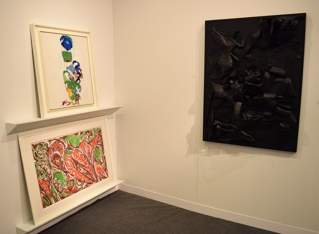 Installation view of Michael Rosenfeld Gallery's booth with works by Joan Mitchell (top left), Lee Krasner (bottom left), and Nancy Grossman (right)