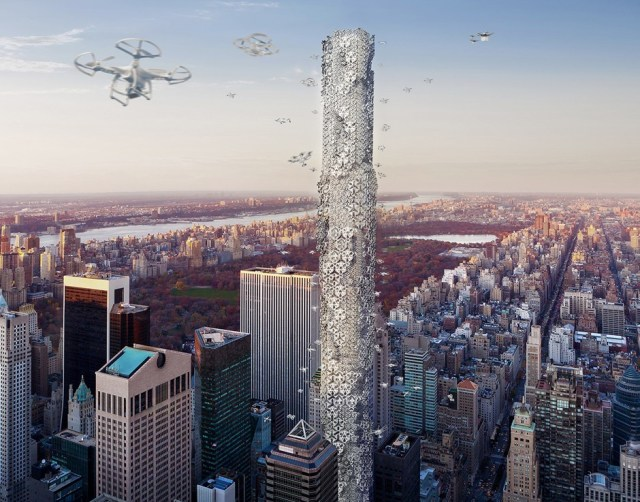 "Hadeel Ayed Mohammad, Yifeng Zhao, and Chengda Zhu, ""The Hive: Drone Skyscraper,"" second place winner in the 2016 eVolo Skyscraper Competition."