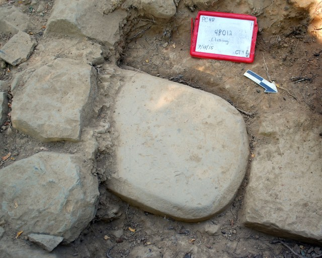 The Etruscan stele discovered in the foundations of a monumental temple, where it had been for over 2,500 years (courtesy Mugello Valley Project)