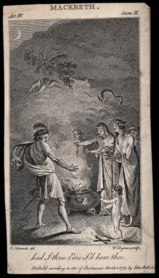 Engraving by W. Byrne after Edward Edwards of the three witches of Macbeth concoting a potion in their cauldron (1773) (via Wellcome Images/Wikimedia)