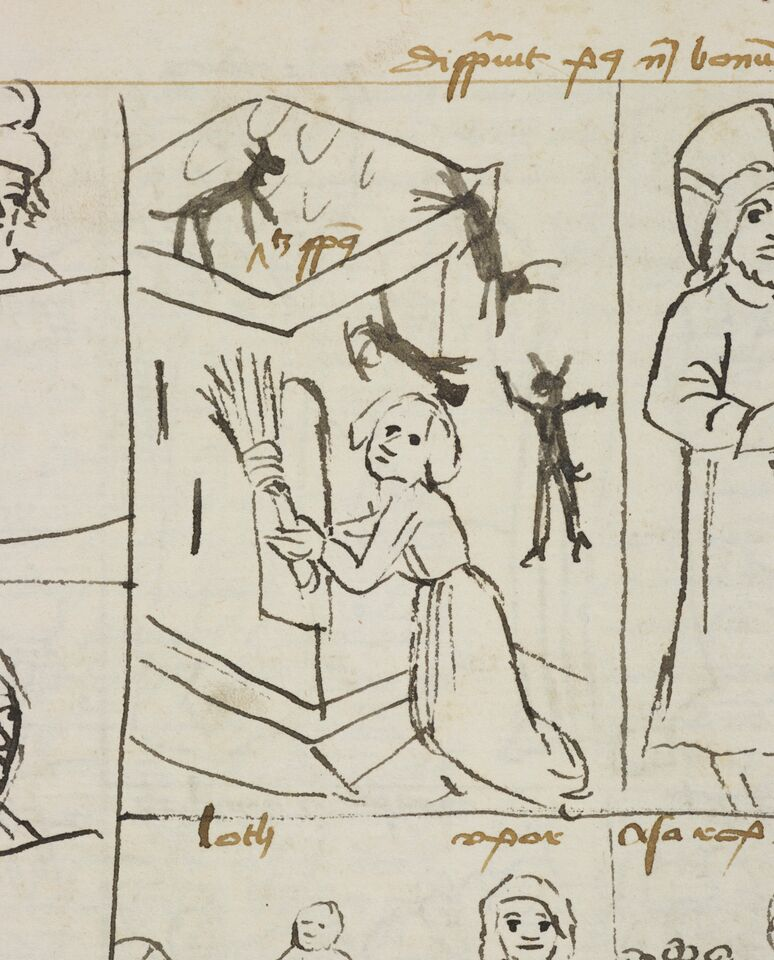 A woman sweeps demons from her home, in Ulrich von Lilienfeld, Concordantiae Caritatis (Concordance of Charity), Lower Austria, Late 1400s. Latin MS 69.