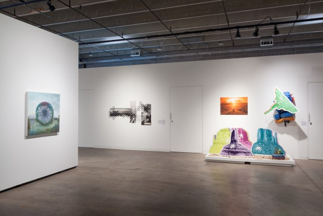 Installation view of 'Monumental' at RedLine with works by Sarah Fukami (center) and Libby Barbee (right)