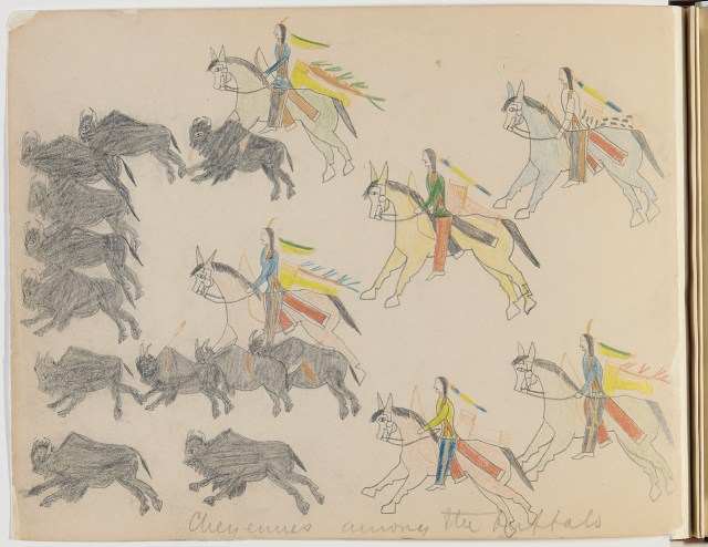 Bear's Heart (Southern Cheyenne, 1851-1882), Cheyennes Among the Buffalo, ca. 1875. Paper, graphite, crayon. Drawn, bound. Drawing titled in pencil by Lt. Richard Henry Pratt, later the founder of the Carlisle Indian School. Photo by Carmel Guadagno, NMAI. (20/6231)