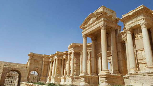 The Palmyra theater, as photographed after Palmyra's liberation (photo by Maher Mouaness)