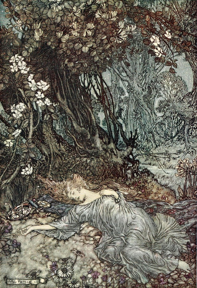 Arthur Rackham's illustration of Titania asleep in 'A Midsummer Night's Dream' (1909) (via Wikimedia)