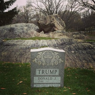 The Trump tombstone in Central Park (photo via @sachinrb/Instagram)