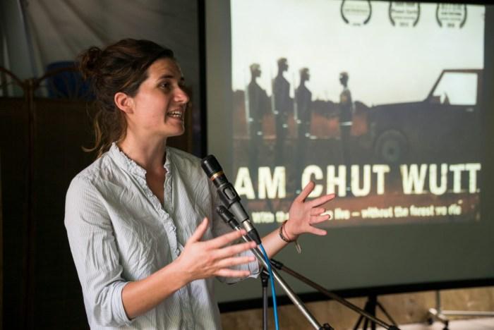 Fran Lambrick speaking at a recent screening of her film.