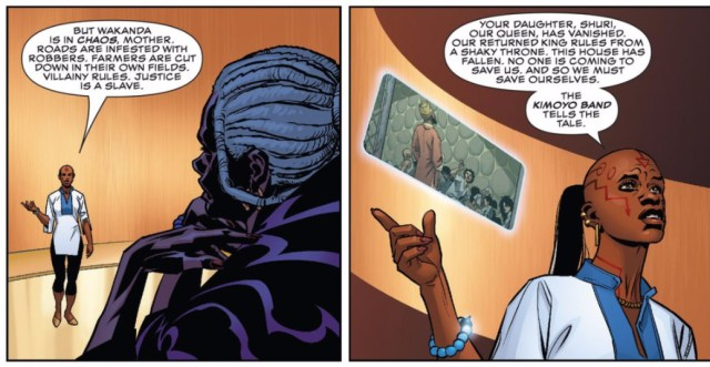 Detail of a page from 'Black Panther' (screenshot by the author for Hyperallergic)