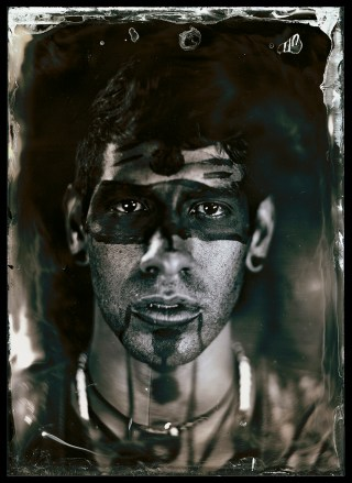 """Will Wilson, """"Eric Garcia Lopez, Citizen of Tarasco First Nation, Dancer, Dancing Earth, Indigenous Contemporary Dance Creations"""" (2012), from the series 'Critical Indigenous Photographic Exchange,' archival pigment print from wet plate collodion scan (image courtesy of the artist)"""