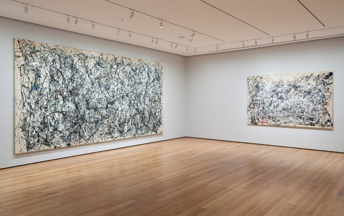 Installation view of Jackson Pollock: A Collection Survey, 1934-1954 at MoMA (Photo by Thomas Griesel, © 2016 The Museum of Modern Art, New York)